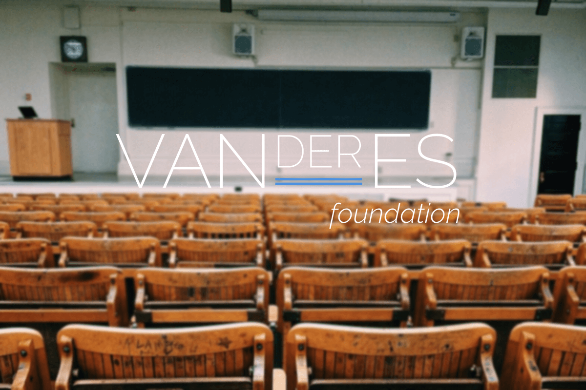Image of classroom with Vanderes Foundation logo overlay