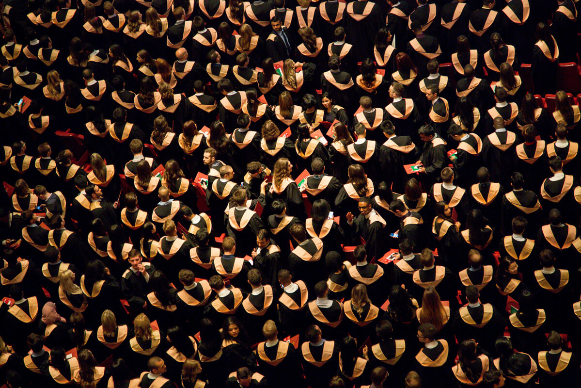 Aerial photo of students at graduation